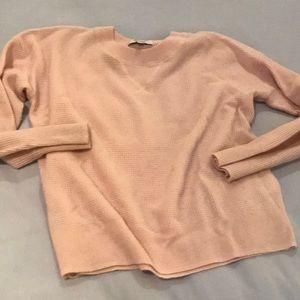 Madewell Pink Sweatshirt waffle stitch cashmere xs